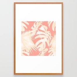 Tropical Coral Pink Palm Leaf Pattern Framed Art Print