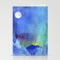 northern lights Stationery Cards featuring Northern Lights by Ricardo Moody
