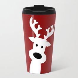 Reindeer on red background Travel Mug