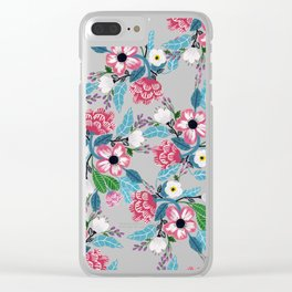 Pink Rose Garden Clear iPhone Case