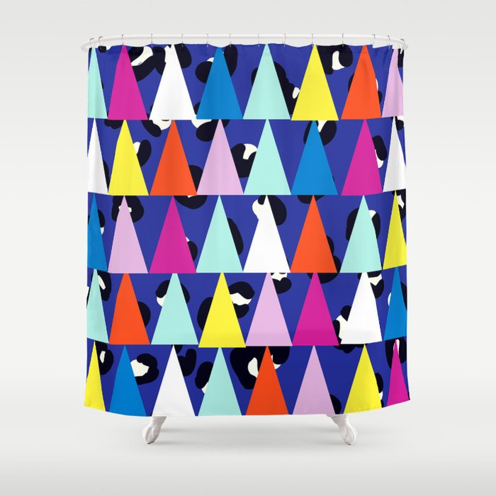 Triangle Animal Print In Royal Blue Shower Curtain
