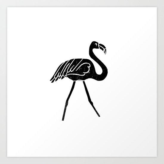Flamingo bird linocut art black and white minimal carving for Minimal art black and white