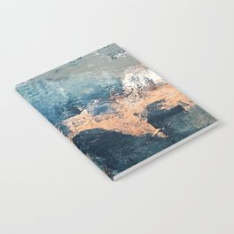 Wander [2]: a vibrant, colorful, abstract in blues, pink, white, and gold Notebook