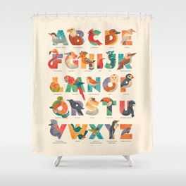 Aerialphabet (labelled) Shower Curtain