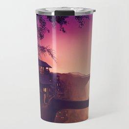 Romantic Couple On Bridge In Idyllic Little Town Above Valley Anime Purple Shade Ultra HD Travel Mug