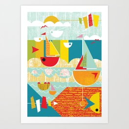 Atomic Mid Century Modern Boats Placement Print Art Print