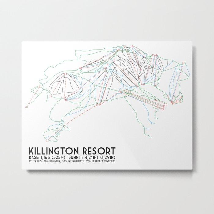 Killington, VT - Minimalist Trail Art Metal Print