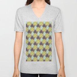 Trendy modern lime green black cactus floral pattern Unisex V-Neck