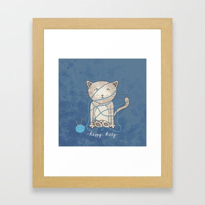 Happy Kity Framed Art Print
