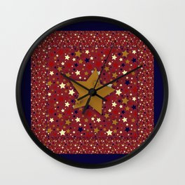 Gold Star Blue Wall Clock