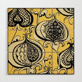 Black and Yellow Floral Wood Wall Art
