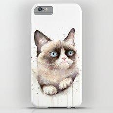 Grumpy Watercolor Cat Animals Meme Geek Art iPhone 6s Plus Slim Case