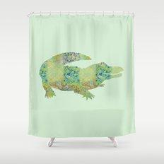 Alligator Crocodile Vintage Floral Pattern Green Teal Mint Blue Shower  Curtain