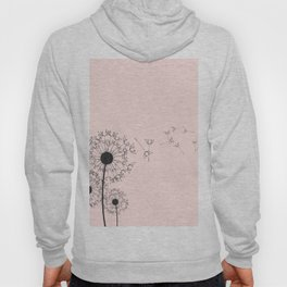 Contemporary Pink Dandelion Drawing Hoody