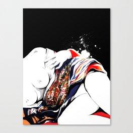 Woman wears a traditional kimono, Naked Body, Fashion illusration, Bueaty Portrait Canvas Print
