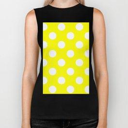 Large Polka Dots - White on Yellow Biker Tank