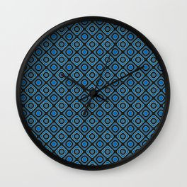 Blue Grey and Teal Dots And Diamonds Pattern Wall Clock