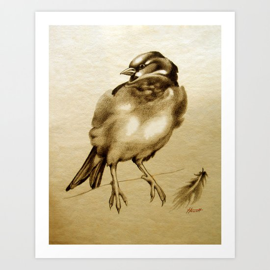 Sparrow With Feather Art Print