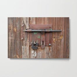 Iron sliding bolt unlocked and padlock Metal Print