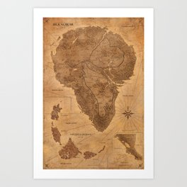 Jurassic Park - Map - Sepia Art Print