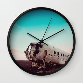 Collateral Beauty of this Plane Wreckage in Iceland Wall Clock
