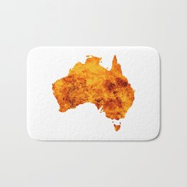 Australia Map With Flames Background Bath Mat