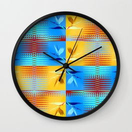 Birds of Paradise Retro Floral Blue and Gold Wall Clock