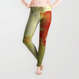 Into The Heat - Black, red, yellow and silver abstract painting Leggings
