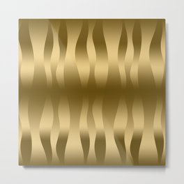 Modern Gold Abstract Zebra Stripes. Metal Print