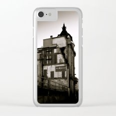 Vintage City, Black and White, Sepia Color, Brussels, Bruxelles, Belgium, Old houses, Street Art Clear iPhone Case