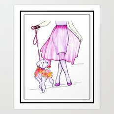 Parisian Poodle's Day Out Framed Art Print