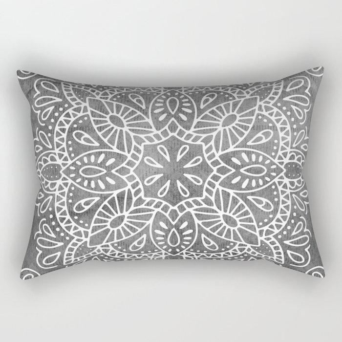 Mandala Vintage White on Ocean Fog Gray Rectangular Pillow by ...