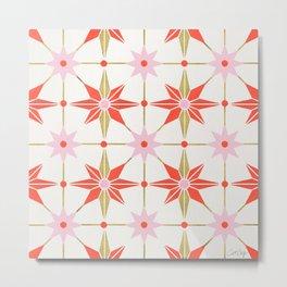 Starburst Mosaic – Coral & Gold Palette Metal Print