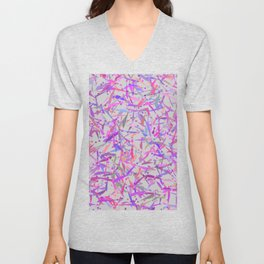 Purple pink surprise party exclamation point camouflage Unisex V-Neck