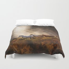 Horses in a Golden Meadow by Georgia M Baker Duvet Cover