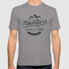 The Mountains Are Calling MEDIUM Tri-Grey Mens Fitted Tee
