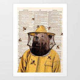 Bear print, Beekeeper Print, Brown bear Art Print, Bear wall art, Beekeeper, vintage dictionary page Art Print