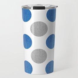 Blue Gray Dots Pattern Travel Mug