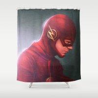 flash Shower Curtains featuring Flash by Varsha Vijayan