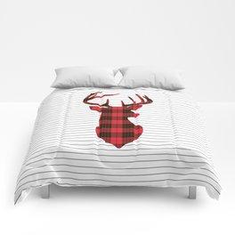 Plaid Deer Head on Minimal Stripes Comforters