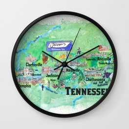 USA Tennessee State Travel Poster Map with Tourist Highlights Wall Clock