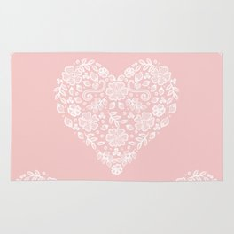 Millennial Pink Blush Rose Quartz Hearts Lace Flowers Pattern Rug