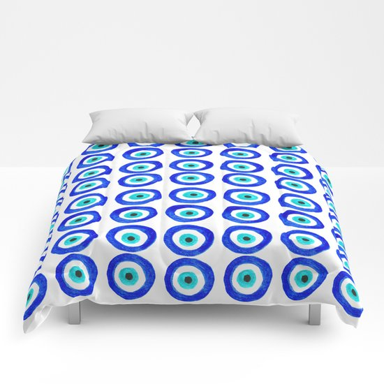 Evil Eye Talisman - on white Comforters