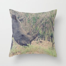rhino in africa new Throw Pillow