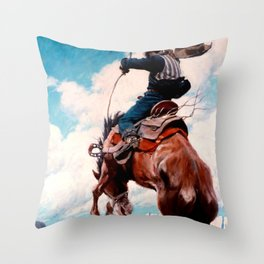 """Vintage Western Painting """"Bucking"""" by N C Wyeth Throw Pillow"""