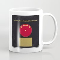 2001 a space odyssey Mugs featuring No003 My 2001 A space odyssey 2000 minimal movie poster by Chungkong
