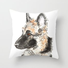German shepherd puppy painting Throw Pillow