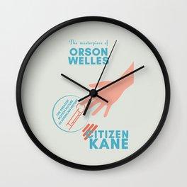 Citizen Kane, minimal movie poster, Orson Welles film, hollywood masterpiece, classic cinema Wall Clock