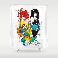 sandman Shower Curtains featuring Delirium and Death by Raquel C. Hita - Sednae
