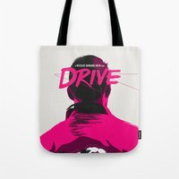 drive Tote Bags featuring DRIVE by justjeff